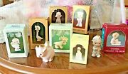 8 Beautiful Precious Moments Christmas Ornaments And Pig Figurine