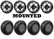 Kit 4 Gbc Kanati Mongrel Tires 26x10-14 On Quadboss Shocker Machined Wheels Hp1k