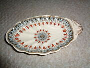 W T Copeland Shell Dish 1850 Attached Handle Blue Rust Color Gold Accents Marked