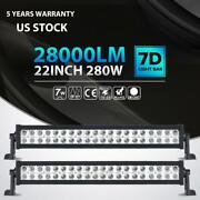2x 22inch 280w Led Light Bar Spot Flood Combo Fit For Jeep Truck 4wd 24