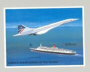 St Vincent 1182 Cruise Ships Concorde 1v S/s Imperf Proof