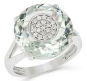 Large 9.71ct Diamond And Aaa Green Amethyst 14kt White Gold 3d Cluster Etoile Ring
