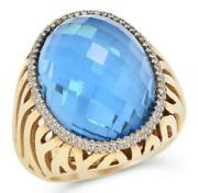 Large 24.32ct Diamond And Aaa Blue Topaz 14kt Yellow Gold 3d Oval And Round Fun Ring