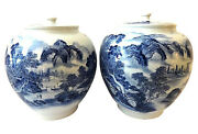 Superb Lg H. Painted B And W Chinoiserie Ginger Jars 16.75 H
