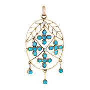 Antique Victorian Pendant 15k Yellow Gold Turquoise Seed Pearls Oval Fringe