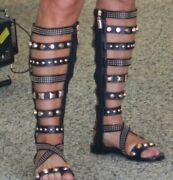 Womens Roman Flat Knee High Gladiator Sandals Strappy Rivets Cut Out Boots Size