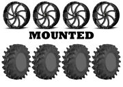 Kit 4 Sti Outback Max Tires 36x9-20 On Msa M36 Switch Black Wheels Can