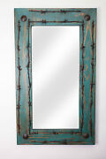 Old Ranch Rustic Barbed Wire Mirror-mexican-36x48 In-western-cowboy-turquoise