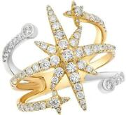 Estate Large 1.14ct Diamond 14kt White And Yellow Gold 3d Shooting Star Fun Ring