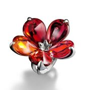 650 Baccarat Psydelic Day 51 Size 5.5 Red Flower Petal Silver Ring Mib 2609395
