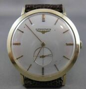 Antique Longines 14k Yellow Gold Large Round Swiss Mens Mechanical Watch 2287