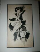 Helen Dryden Origional Black And White Watercolor Women With Hats About 1910