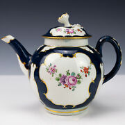 First Period Worcester Scale Blue Teapot C1770