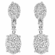 Estate 1.60ct Diamond 18k White Gold 3d Cluster Double Oval Fun Hanging Earrings