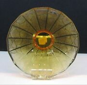 3300 Lalique China Mood Amber Crystal 12.8w Fan Bowl 5 Lbs New In Box 10015900