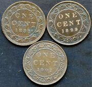 1888 1899 And 1901 Canada Large Cent Coins