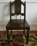 Jacobean Revival Wood Dining Side Chair With Carved Seat Back And Legs