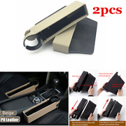 2x Leather Interior Car Seat Seam Bag Organizer Cup Holder Phone Coin Accessory