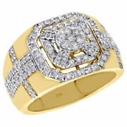 10k Yellow Gold Genuine Diamond Pinky Ring Octagon Halo Frame Cluster Band 2 Ct.