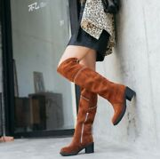 Vintage Women Round Toe Mid Heel Over Knee High Boots Suede Casual Street Retro