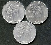 1956 1957 And 1958 Italy 100 Lira Coins