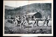 Winslow Homer 1873 Snap The Whip Large Centerfold Engraving Excellent Condition