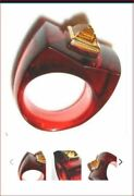 795 Baccarat Guet Apens 18k Gold Ruby Crystal Citrine Ring 55 Size 7 Mint Box