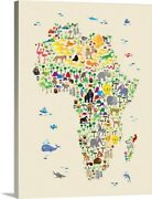 Animal Map Of Africa For Kids Canvas Wall Art Print, Wildlife Home Decor