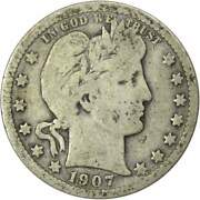 1907 Barber Quarter G Good 90 Silver 25c Us Type Coin Collectible
