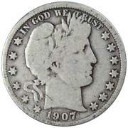 1907 Barber Half Dollar Vg Very Good 90 Silver 50c Us Type Coin Collectible