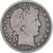 1907 D Barber Half Dollar Ag About Good 90 Silver 50c Us Type Coin Collectible