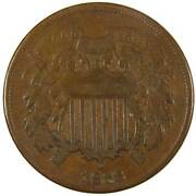 1868 Two Cent Piece Vg Very Good Bronze 2c Us Type Coin Collectible