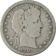1907 O Barber Quarter Ag About Good 90 Silver 25c Us Type Coin Collectible