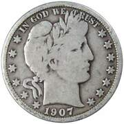 1907 D Barber Half Dollar Vg Very Good 90 Silver 50c Us Type Coin Collectible