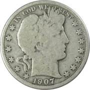1907 Barber Half Dollar Ag About Good 90 Silver 50c Us Type Coin Collectible