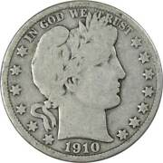 1910 S Barber Half Dollar Ag About Good 90 Silver 50c Us Type Coin Collectible