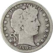 1907 Barber Quarter 90 Silver 25c Us Type Coin Collectible