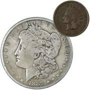 1887 Morgan Dollar F Fine 90 Silver Coin With 1902 Indian Head Cent G Good