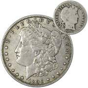 1896 O Morgan Dollar Xf Ef Extremely Fine With 1916 Barber Dime G Good