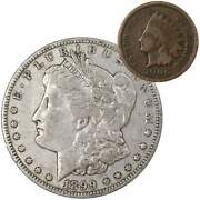 1899 O Morgan Dollar F Fine 90 Silver Coin With 1900 Indian Head Cent G Good