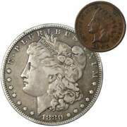 1880 Morgan Dollar F Fine 90 Silver Coin With 1901 Indian Head Cent G Good