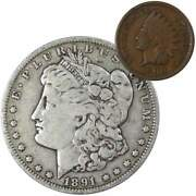1891 O Morgan Dollar F Fine 90 Silver Coin With 1900 Indian Head Cent G Good