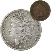 1881 O Morgan Dollar F Fine 90 Silver Coin With 1901 Indian Head Cent G Good