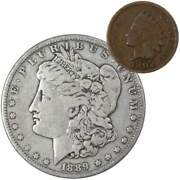 1889 Morgan Dollar F Fine 90 Silver Coin With 1902 Indian Head Cent G Good