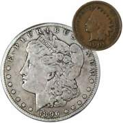 1896 Morgan Dollar F Fine 90 Silver Coin With 1901 Indian Head Cent G Good