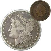 1880 S Morgan Dollar F Fine 90 Silver Coin With 1899 Indian Head Cent G Good