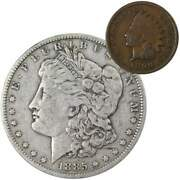 1885 O Morgan Dollar F Fine 90 Silver Coin With 1899 Indian Head Cent G Good