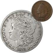 1879 Morgan Dollar F Fine 90 Silver Coin With 1902 Indian Head Cent G Good