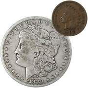 1883 Morgan Dollar F Fine 90 Silver Coin With 1902 Indian Head Cent G Good