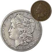 1900 Morgan Dollar F Fine 90 Silver Coin With 1901 Indian Head Cent G Good